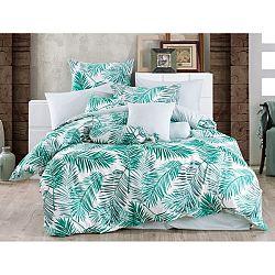 BedTex Bavlnené obliečky Palms Green, 140 x 220 cm, 70 x 90 cm