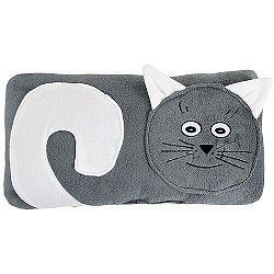 Bellatex Tvarovaný vankúšik Mačička sivá, 45 x 30 cm