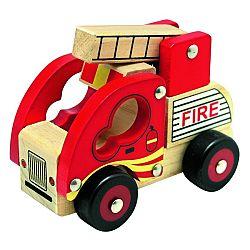 Bino Drevené auto Hasiči, červená