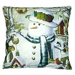 BO-MA Trading Obliečka na vankúšik Snehuliak s vtáčikmi, 40 x 40 cm