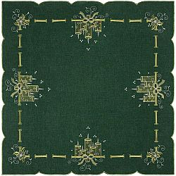 Forbyt Vianočný obrus Sviečky zelená, 85 x 85 cm