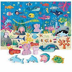Headu Puzzle Morský svet s 8 drevenými vkladacími figúrkami (Montessori)