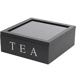 Koopman Box na čajové vrecúška 23 x 23 x 9 cm, čierna