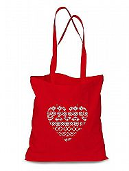 Plátená EKOlogická taška Čičmanské srdce - dlhá rúčka