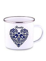Plechový hrnček folklórne srdce modré