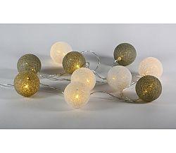 Reťaz tkané gule 10 LED - teplá biela