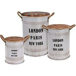 Sada dekoratívnych zinkových dóz Big Cities, 3 ks