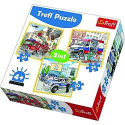TREFL Policie záchranáři a hasiči 3v1 20,36,50 dílků