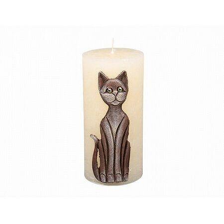 Dekoratívna sviečka Mačka béžová, 14 cm