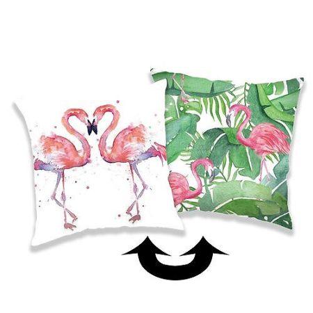 Jerry Fabrics Obliečka na vankúšik s flitrami Flamingo 01, 40 x 40 cm