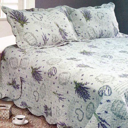 Prehoz na posteľ Levanduľa, 230 x 250 cm,  2x 50 x 70 cm