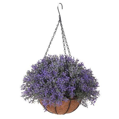 Umelá kvetina v závesnom kvetináči Mirabel, tmavofialová