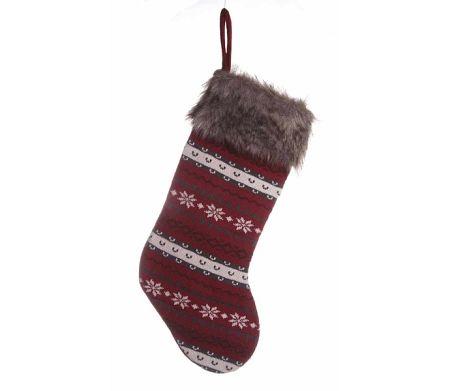 Vianočná ponožka - červená/šedá