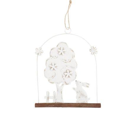 Závesná dekorácia Strom so zajačikom, 20 cm